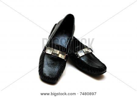 Black Leather Women Shoes
