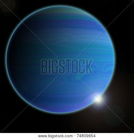 Unknown planet on a dark background, illustration
