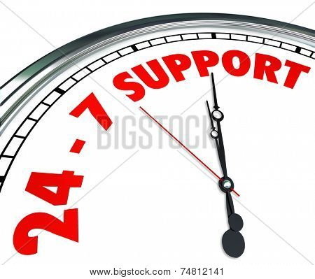 24-7 Support words on a clock face to promise round the cloce support and customer service to solve your trouble, problem, issue or difficulty