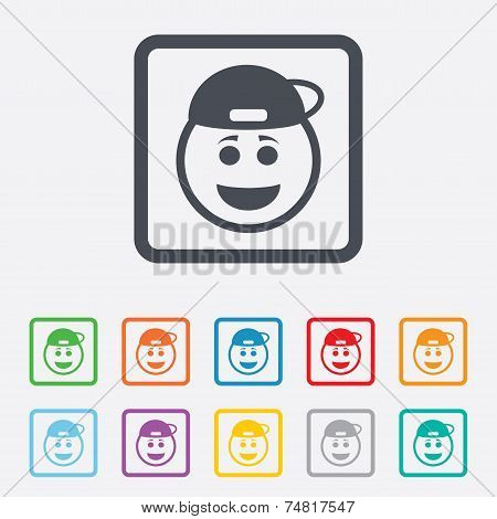 Smile rapper face icon. Smile symbol.