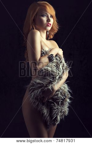 Nude Ginger Girl With Fur