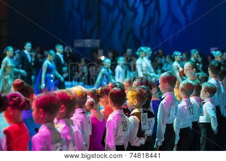 Minsk-belarus, October 19, 2014: Dance Couples Standing Prior To The Idsa World Open Championship 20
