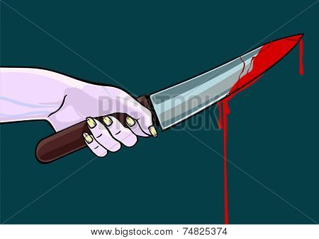 Hand of a zombie with a blooded knife