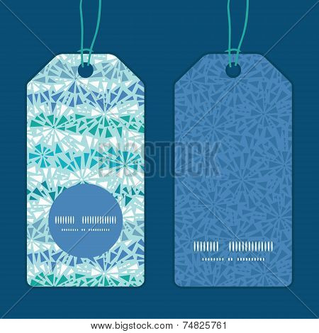 Vector abstract ice chrystals texture vertical round frame pattern tags set