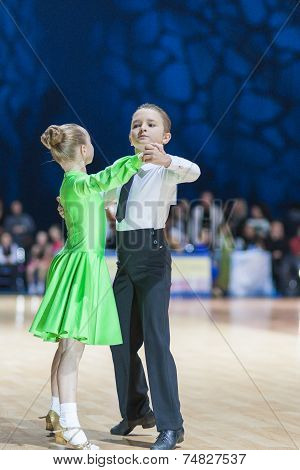 Minsk-belarus, October 19, 2014: Unidentified Dance Couple Performs Juvenile European Standard Progr