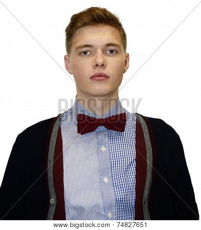 Male Model In Sweater With Bow-tie