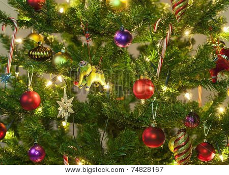 Beautiful ornaments on a christmas tree