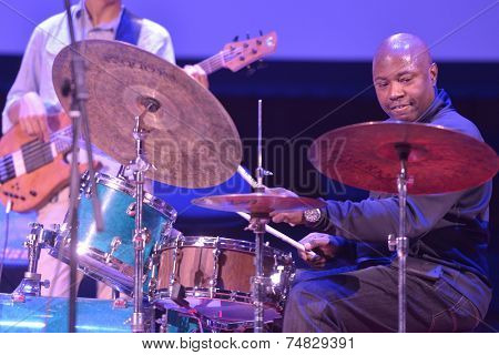 NOVOSIBIRSK, RUSSIA - OCTOBER 23, 2014: American jazz fusion drummer Lenny White (right) with his colleague during the sound check on Sib Jazz Fest. The festival will run till October 25