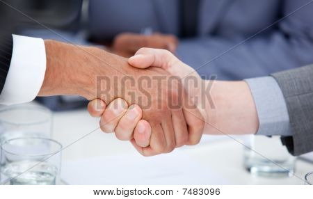 Close-up Of Confident Business People Closing A Deal
