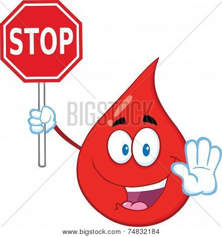 Red Blood Drop Cartoon Mascot Character Holding A Stop Sign.