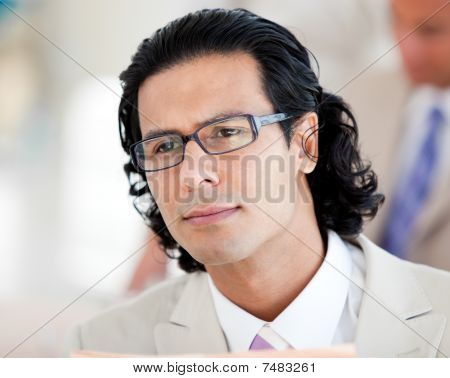 Serious Businessman Wearing Glasses