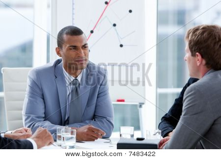 Ambitious Businessmen Having A Brainstorming