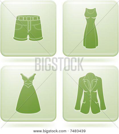 Conjunto de ícones 2D Praça olivina: roupa de mulher