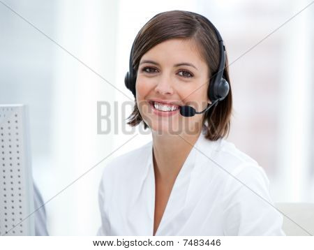 Portrait Of A Pretty Customer Agent At Work