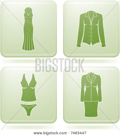 Olivine Square 2D Icons Set: Woman's Clothing