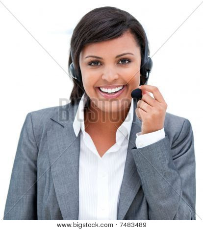 Afro-american Customer Agent At Work
