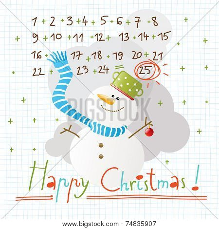 Vector merry christmas greeting card, snowman.