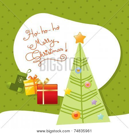 Vector merry christmas greeting card, christmas tree.