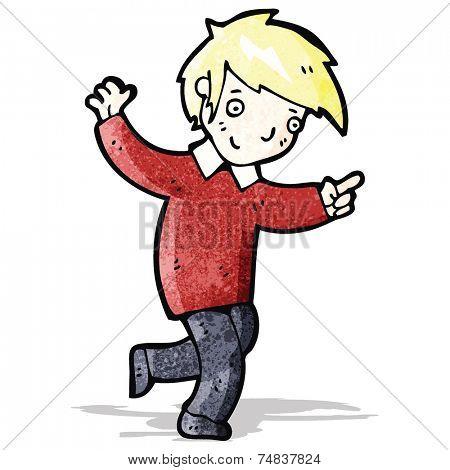 cartoon happy blond boy pointing the way