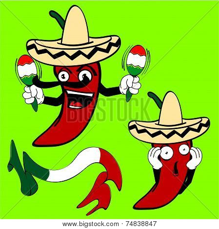 mexican chilli pepper cartoon set