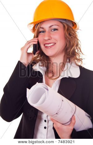 Engineer Woman With Phone
