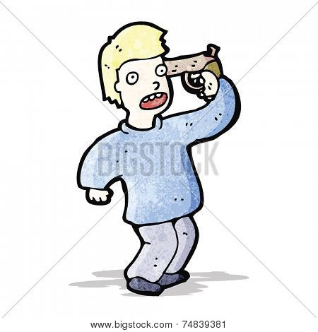 cartoon man with gun to head