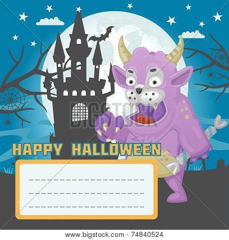 Halloween monster candy card
