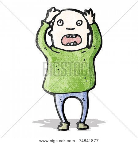 cartoon bald man stressing out