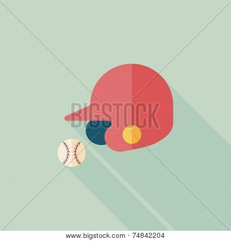Baseball Helmet Flat Icon With Long Shadow,eps10