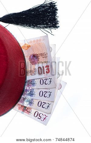 Hotel Boy Hat And Money Isolated