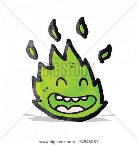 cartoon green flame spirit