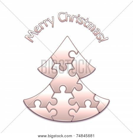 Vector christmas tree made from puzzles