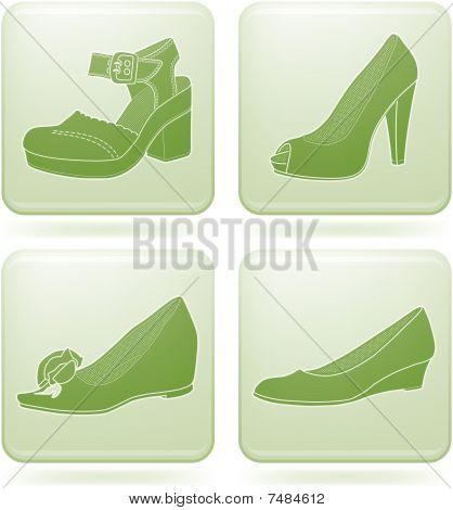Olivine Square 2D Icons Set: Woman's Shoes