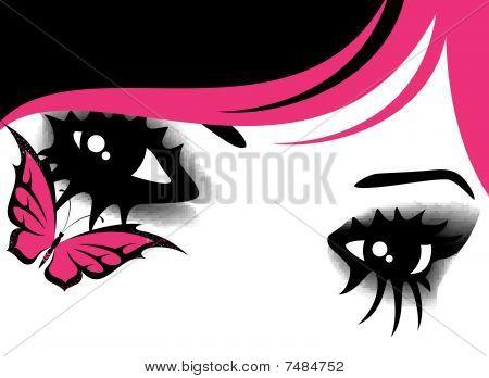 ojos en estilo de emo con mariposa