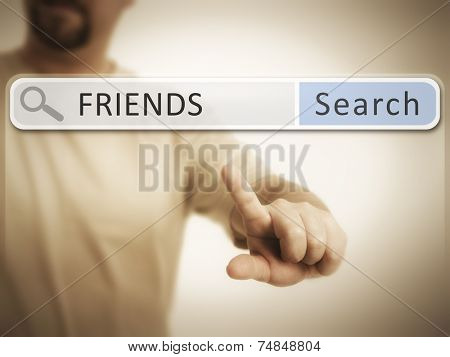 An image of a man who is searching the web after friends