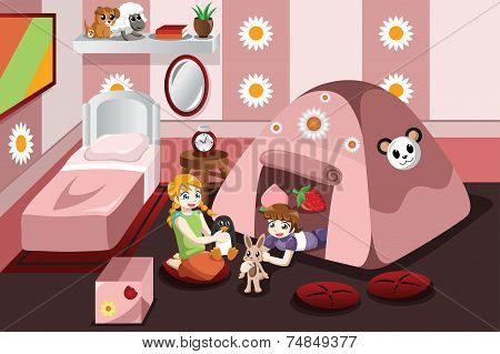 Kid Playing In A Tent Inside The Bedroom