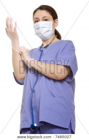 Doctor Putting Her Gloves On