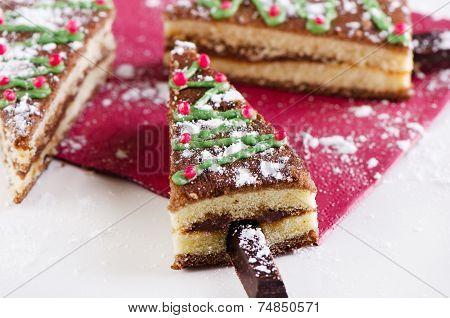 Christmas Tree Made Of Sweet Cake
