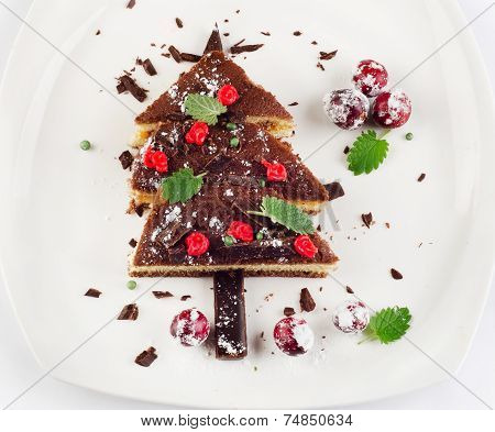 Christmas Tree Made Of  Cake With Mint