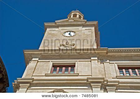 facade with clock