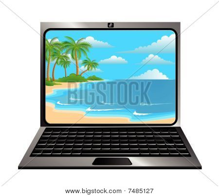 notebook with summer beach
