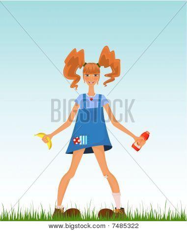 girl in style of Peppi Longstocking