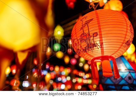 Beautiful International Lantern Illuminating In Night Time