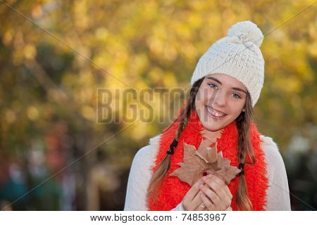 smiling happy girl warm woollie
