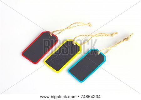 Set Of Wooden Tags - Walnut - Stock Image