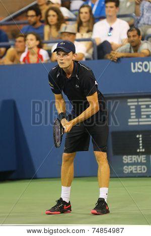 Professional tennis player David Goffin during US Open 2014 third round match