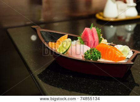 the sushi set composing of tuna, salmon , imitating crab stick