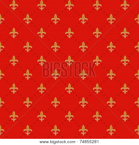 Seamless Red Background With A Gold Royal Lilies