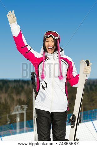 Half-length portrait of female skier. Concept of winter sports and cute entertainment