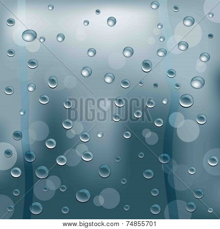 Background Of Blurred Glass With Water Drops